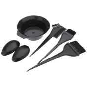 Toruiwa Hairdressing Brushes Bowl Ear Cover Combo Salon Hair Colour Dye Tool Kit Set of 5 Black