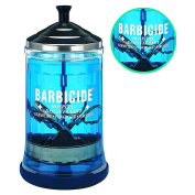 Barbicide Mid Size Jar Glass Stainless Steel lid Manicure Tools Barber Salon BRE4