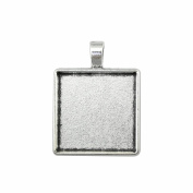 NEWME 9Pcs 25mm Square Inner Size Antique Silver Plated Classic Perforation Single Side Side-On Cabochon Settings Blank Pendant Base Trays Diy Jewellery Bezels
