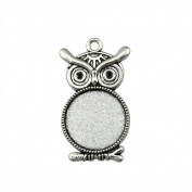 NEWME 12Pcs 20mm Round Inner Size Antique Silver Plated Owl Single Side One Hanging Necklace Pendant Setting Cabochon Cameo Base Tray Bezel Blank Fit Cabochons Jewellery Making Findings