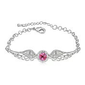 Crystal Diamond Bracelet with Silver Wings