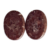 Natural Red Dinosaur Bone Pair Cabochon, Oval Shape, Size 23X17X2 MM, Stone For Earring, Dino Bone, Fossilised Bone, . AG-7532