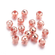 Angel Malone ® 20 x Quality Rose Gold Faceted Round Brass Spacer Beads Jewellery Making Findings