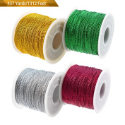 Metallic Tinsel Cord Craft String WXJ13 Brand 4 Spools in 4 Colours, Total length 437 Yards/400m