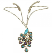Wicemoon Classic Elegance Gemstone Peacock Long Retro Necklace Female Sweater Chain