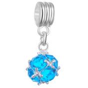 RUBYCA 10Pcs Ball Dangle Pendant Charm Beads Crystal Rhinestone European Bracelet Aquamarine Blue