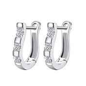 ODN Copper Zircon Sterling Silver U-Shaped Rhinestone Earring Studs Dangle Earring Clasp for Women