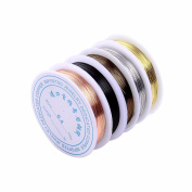 5 Rolls 5 Colours 55Yd 26Gauge Uncoated Copper Wire Tarnish Resistant Pure Dead Soft Copper Wire Jewellery Beading Wire Roll for Crafts Beading Jewellery Making