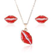 SIVITE Cute Enamel Red Lips Pendant Necklace Stud Earrings Set for Girls Women Hypoallergenic Jewellery