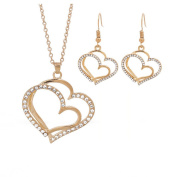ODN Rose Golden Heart Necklace Infinity Pendant Statement Charms for Women Girls