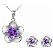 ODN Sterling Silver Cubic Zirconia Blossom Flower Earrings Necklace Set for Women