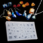 BEAUTY'S CASTLE 3D Crystal Necklace Pendant Mirror Silicone Moulds DIY Crystal Resin Stencils Jewellery Pendant Polymer Clay Epoxy Pendant Earrings Making Tool