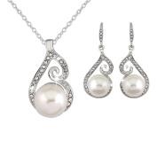 Bead Necklace Earrings Set Rhinestone Pendant Jewellery