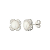 Queen White Cultured Pearl Earrings and 925 sterling silver – Gift Idea