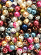 The Bead and Button Box - 40g Split Colour Glass Pearl Beads. 4mm. Ideal for jewellery and other crafts. Over 400 Pearls