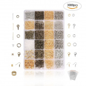 Jeteven 3000 Pcs Jewellery Making Accessories Kit Jewellery Findings Supplies Kit for DIY Handmade