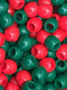 50 large barrel Pony Beads Xmas Green & Red Mix 9x12mm