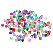 200 Pieces 8 mm Crackle Glass Beads Colourful Crackle Beads Mixed Split Glass Round Beads for Jewellery Making and Craft