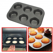 AFUT Non Stick Metal Muffin Cup Cake Pudding Mould Baking Trays Bake Tins 6 Deep Cup Tray