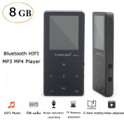 FLORATA MP3 MP4 Player 8GB Bluetooth Recording Pen Touch Button Lossless Sound with FM Radio Digital Music Player for Sport and Music Lovers Support TF Card Up To 128GB