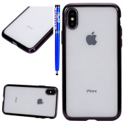EUWLY Silicone Case for iPhone X,iPhone X Transrent Silicone Case Front and Back Double Fance Full Body Protective Case for iPhone X,iPhone X Crystal Clear Gel TPU Cover with Steel Film Ultra Thin Rubber Bumper Lightweight Shell Flexible Back Cover Ant ..