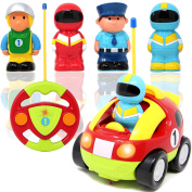 Cartoon RC Race Car Radio Remote Control with Music & Sound includes 4 Figures for Baby and Toddler Cars, School Classroom Prize, Easter Stuffer and Holiday Gift Toy for 2 Year Old by Joyin Toy