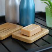 Kimanli Natural Bamboo Wood Bathroom Shower Soap Tray Dish Storage Holder Plate New