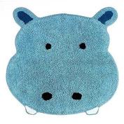 Saturday Knight Safari Blue Hippo Bath Cotton Rug for Childs Bathroom
