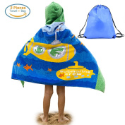 Kids Hooded Beach Bath Towel and Bag Set for Kids Submarines & Crocodiles Pattern 4-14 Years