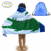 Kids Hooded Beach Bath Towel and Bag Set Large / Poncho Swim Beach Bath Towel Gulls & Crocodile Pattern for Girls Boys 4-14 Years