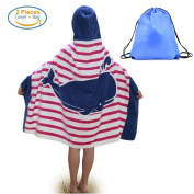 Kids Hooded Beach Bath Towel and Bag Set for Girls Pink Whale Pattern 4-14 Years