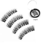 COSHINE 4pcs Triple Magnetic False Eyelashes 0.2mm Ultra Thin Reusable 3D Fake Magnet Eye lashes, No Glue