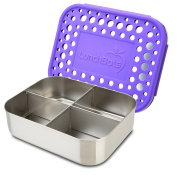 LunchBots Quad Stainless Steel Food Container - Four Section Design Perfect for Healthy Snacks, Sides, or Finger Foods On the Go - Eco-Friendly, Dishwasher Safe and BPA-Free - Purple Dots