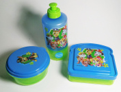 Paw Patrol Blue and Green Sandwich Container, Water bottle and Snack Container Lunch Box 3 Peice Set