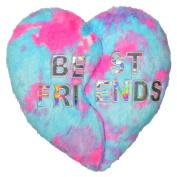 Iscream Heart BFF Best Friends Forever Furry 43cm x 41cm Throw Pillow