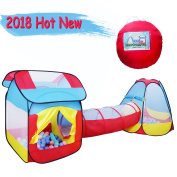Growthpic 3pc Kids Pop-up Play Tent with a Crawl Tunnel, a playhouse and a Teepee ball pit–for Boys, Girls, Babies and Toddlers both Indoor and Outdoor Use