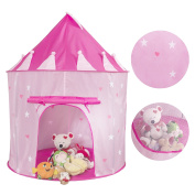 Children Play Tent Princess Castle with Glow in the Dark Stars Pop Up Pink Playhouse With Foldable Carry Case by NANPIPER