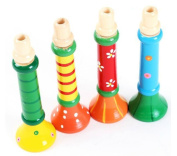 Needra Multi-Colour Baby kids Wooden Horn Hooter Trumpet Instruments Music Toys