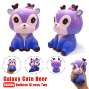 Soft Toys,Familizo 11cm Galaxy Cute Deer Cream Scented Squishy Slow Rising Squeeze Strap Kids Toy Gift Stress Reliever toy