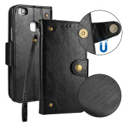 Huawei P9 lite Case, BONROY® Huawei P9 lite Retro PU Leather Phone Holster Case, Flip Folio Book Case, Wallet Cover with Stand Function, Card Slots Money Pouch Protective Leather Wallet Case for Huawei P9 lite - Black