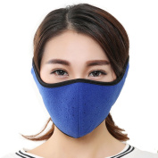 Men Women Winter Cold-proof Mask Half Face Fleece Warmer Mask,Windproof Mouth Mask Built-in Breathable Spiracle,Ajustable Hook and loop Strap Earmuffs Full Ears Protection for Ski Bicycle Motorcycle