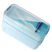 Haodasi 3 Layer Separated Lunch Box with Spoon Adults Kids Boys Student Leakproof Seal Fruit Sushi Box Bento Box Containers Blue 900ml