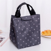 Qearly Leaves Pattern Tote Bento Bag Oxford Insulated Lunch Bag Waterproof Picnic Bag-Dark Grey