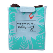 Qearly Flamingo Pattern Outdoor Bento Bag Insulated Lunch Bag Tote Cooler Bag For Picnic-Blue