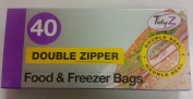 3 X Tidyz Double Zipper Plastic Zip Seal Food & Freezer Large Storage Bags Ultimate Strength Resealable 17 X 21 cm - 40 Bags