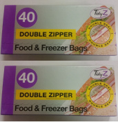2 X Tidyz Double Zipper Plastic Zip Seal Food & Freezer Large Storage Bags Ultimate Strength Resealable 17 X 21 cm - 40 Bags
