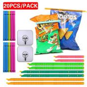 Plastic Bag Sealer Clips Sticks Chips(8Pcs+10Pcs)+Wall hook(2Pcs), Keep Bags Air / Water Tight, Never Waste Food Again, No Moving Parts