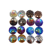 JulieWang 100pcs 8mm Mermaid Scales Skin Cabochons Resin Mixed Shinny Colour for Jewellery Making