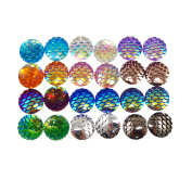 JulieWang 100pcs 12mm Mermaid Scales Skin Cabochons Resin Mixed Shinny Colour for Jewellery Making