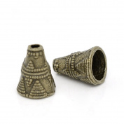 YC 60pcs Bronze Tone Cone End Beads Caps 11x9mm Loose Metal Beads Craft DIY Jewellery Making Findings Charms Pendants